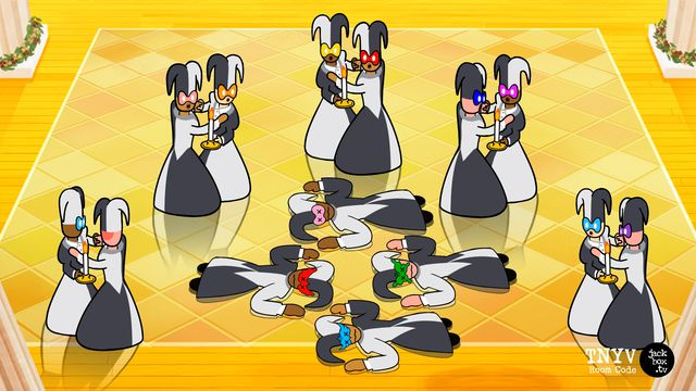 A simplistic cartoon of a masquerade ball where five pairs of dancers are shocked to see four dead bodies in the center of the room.