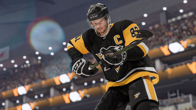 Sidney Crosby of the Pittsburgh Penguins deflects a shot in NHL 22