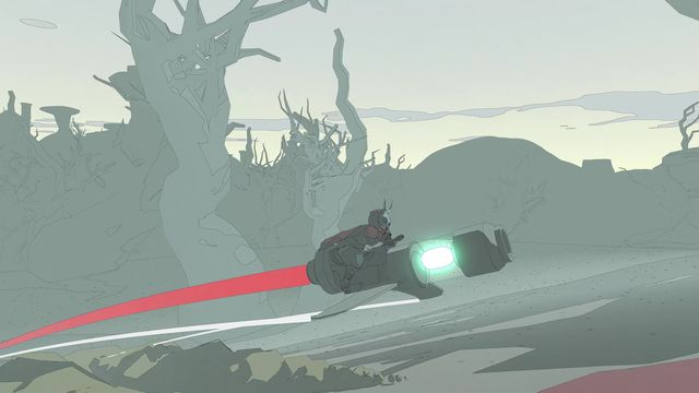 A screenshot of Sable with the main character riding a hoverbike