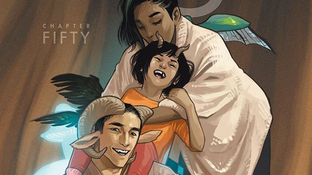 Dad Marko, Hazel, and mom Alana on the cover of Saga #50 (2018).