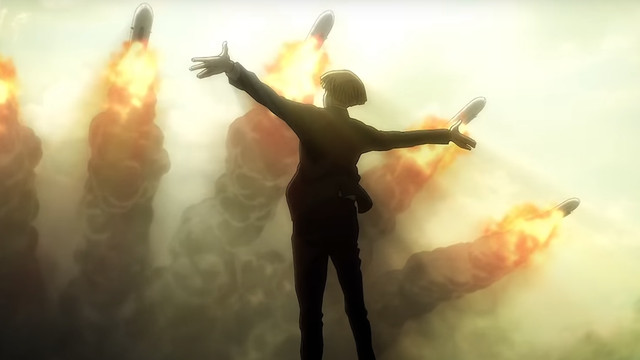A character from attack on Titan looking toward missiles as they fly over him