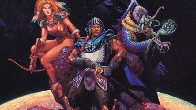 Cover art for the original Spelljammer features a stereotypical knight in orbit.