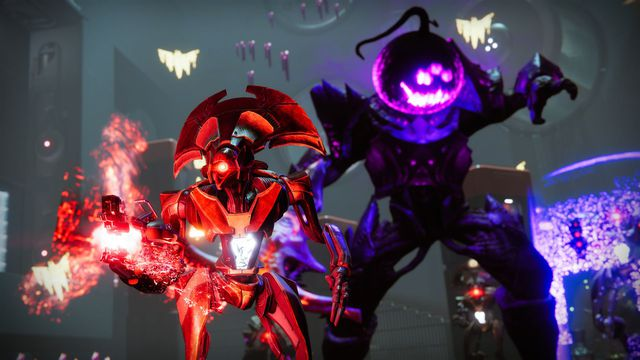 A Hive Knight sports a spooky purple jack o'lantern head and a Vex Goblin gets an eerie red glow in Destiny 2's 2021 Festival of the Lost event
