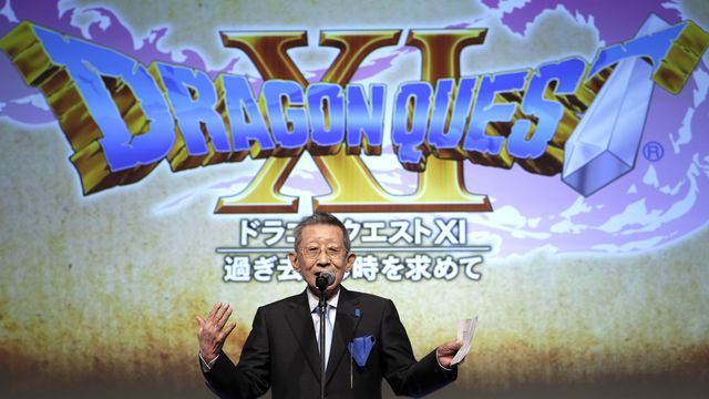Koichi Sugiyama speaks during the unveiling of Dragon Quest 11 in Tokyo, Japan in 2015