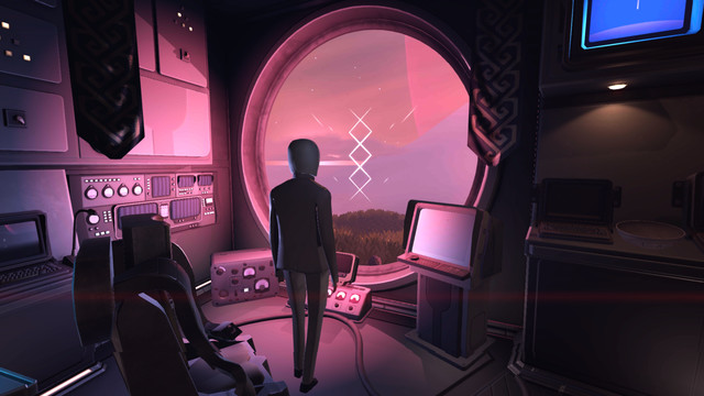 Jett: The Far Shore - a scientist stands in a glass base on an alien planet, with pink light filtering in.