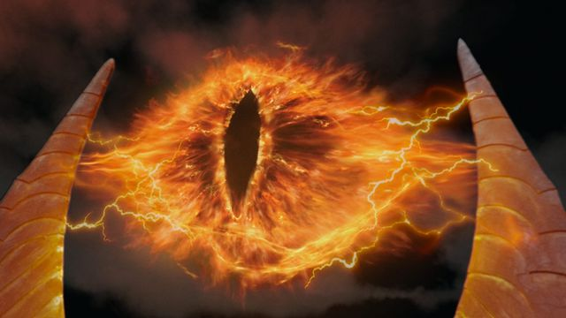 The Eye of Sauron at the tp of Barad-dûr in The Lord of the Rings: The Two Towers.