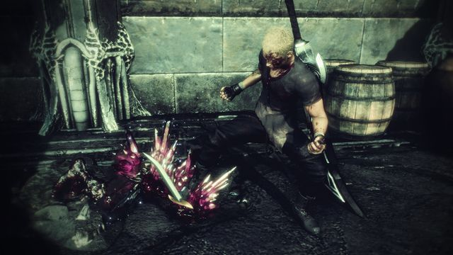 jack from final fantasy origin slays a monster. there's blood splattered all over his face.
