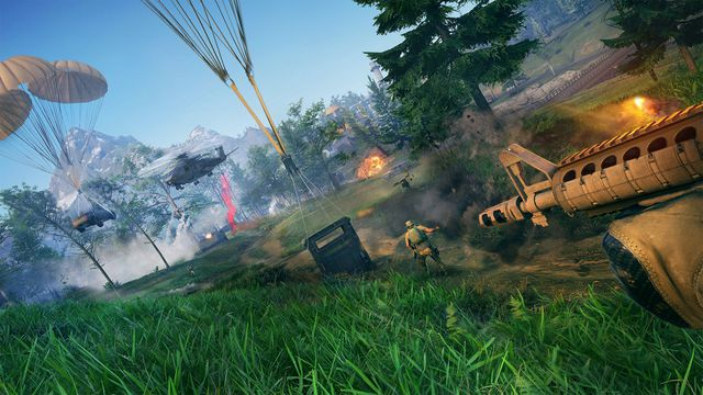 A first-person shot of Tom Clancy's Ghost Recon Frontline with multiple helicopter drops