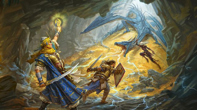 A blue dragon guards his hoard from a group of adventurers in the key art from the Pathfinder second edition.