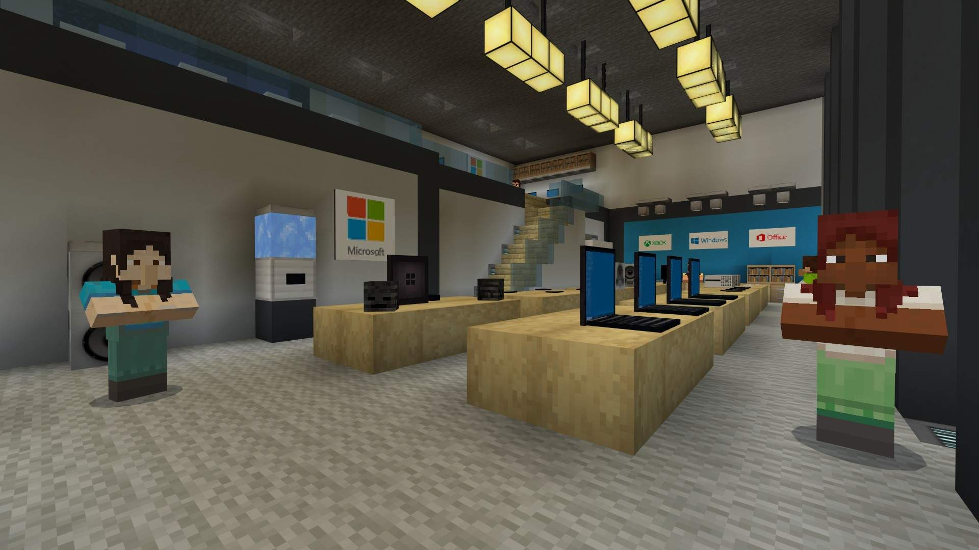 Two female NPCs face viewer to welcome them to Minecraft Offices re-created in Minecraft.